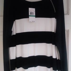 Michael Kors black&white sweater w/ side zip Sz: L